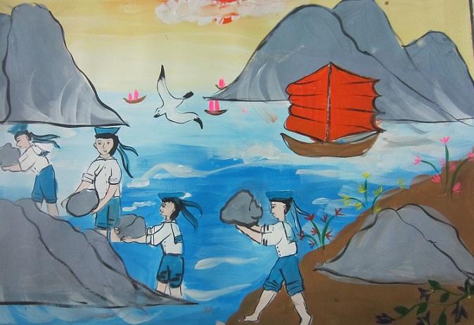 Giải Nhất : Góp đá xây Trường Sa (HS Trần Thị Diễm My, lớp 5, TH Đinh Bộ Lĩnh)